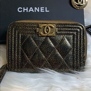 Authentic Chanel Le Boy Metallic ZIP Cardholder